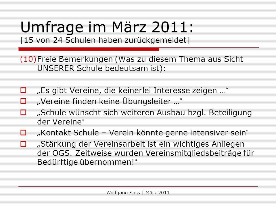 Umfrage im März 2011: [15 von 24 Schulen haben zurückgemeldet]